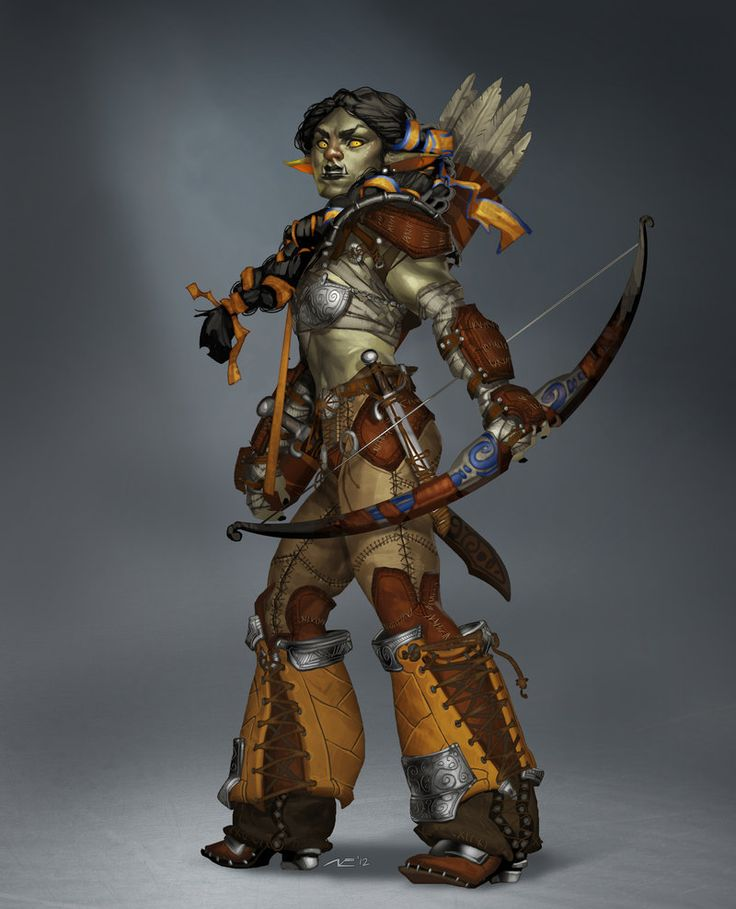 Badass female orc warrior / archer. I like her because she looks orcish and fierce, and not as a greentinted bimbo  By Minosch on Deviantart
