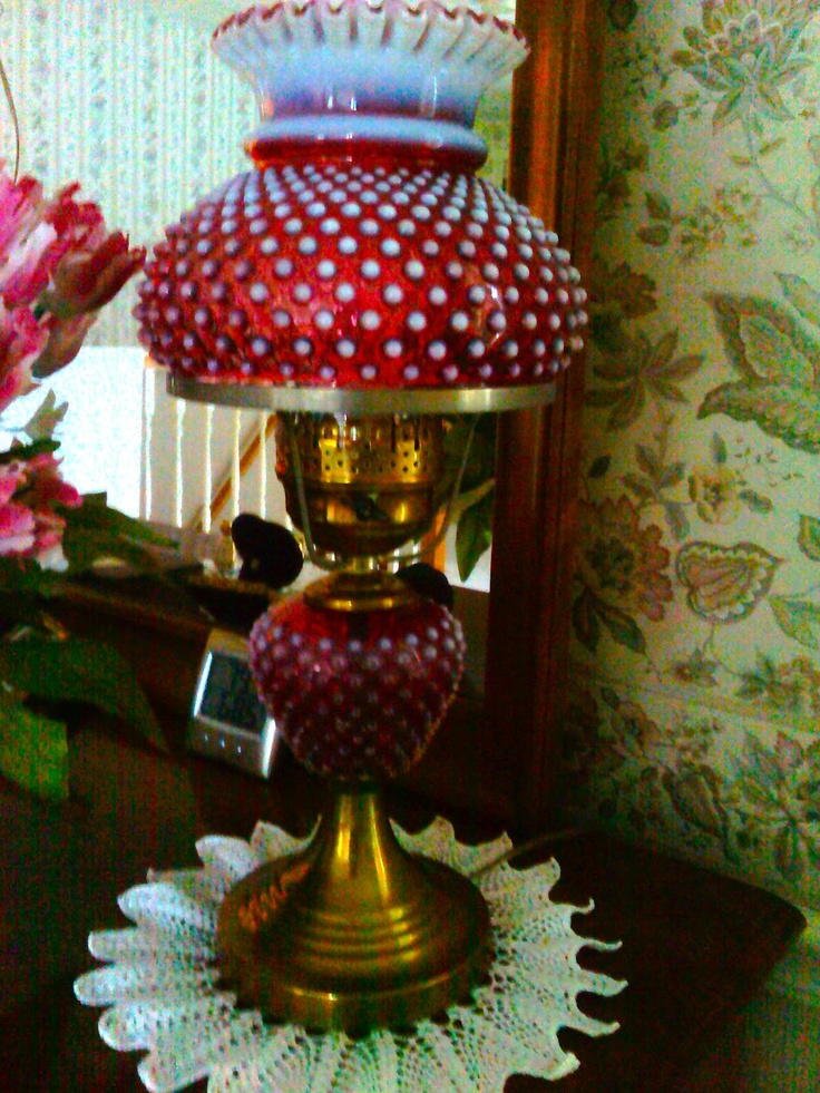 Oil lamp shade antique glass hanging lamps antique hanging oil lamps - Hobnail Lamp Love The Red Hobnail Pinterest Oil