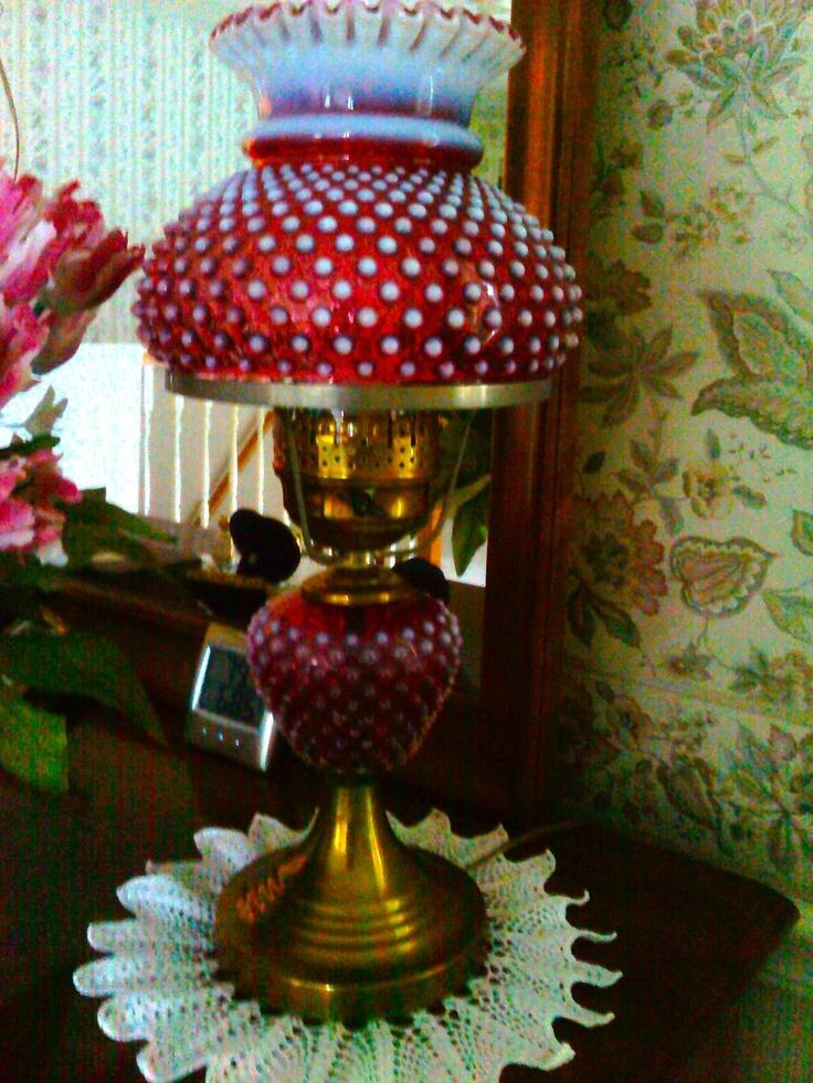 Hobnail lamp love the red hobnail pinterest oil