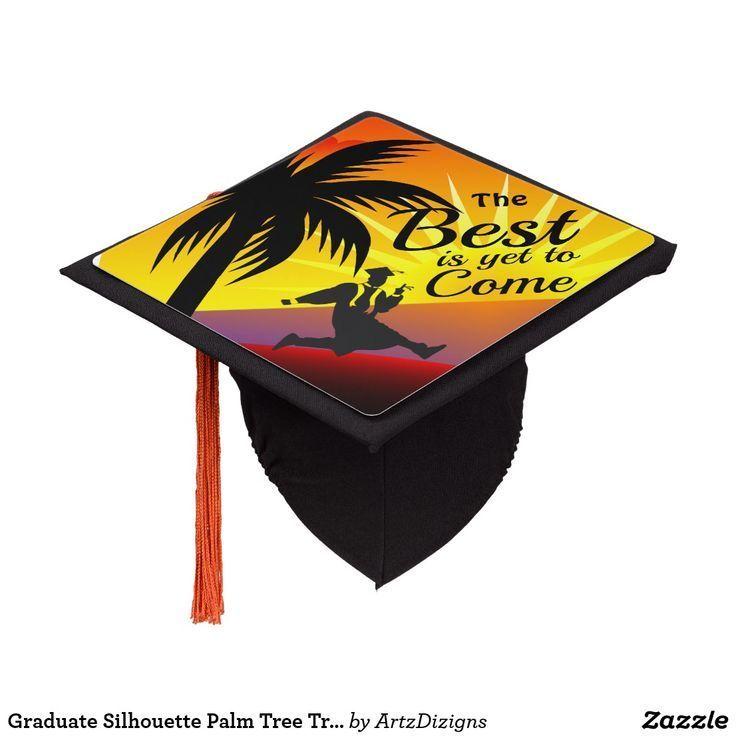 Graduate Silhouette Palm Tree Tropical Sunset Graduation Cap Topper   Zazzle.com - #graduate #graduation #silhouette #sunset
