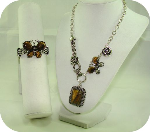 Maya: Pressed Metal & Tiger Eye gemstones