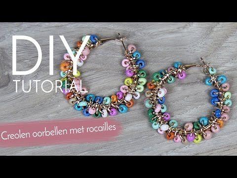 Sieraden maken met Kralenwinkel Online - Creolen oorbellen met rocailles - YouTube