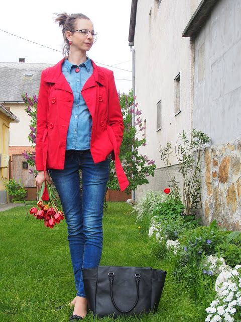 denim on denim, red coat