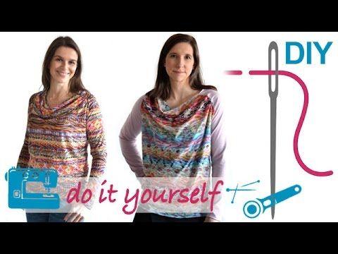 Wasserfallkragen - Shirts und Kleid nähen - nähen für Anfänger, nähen lernen - YouTube