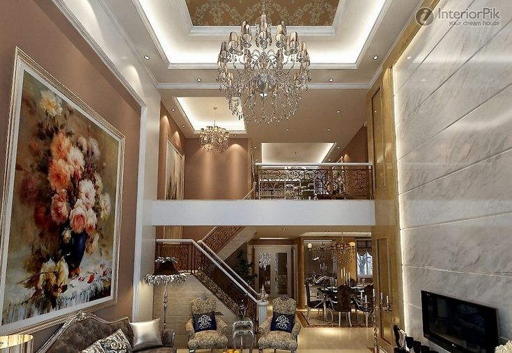 European Style Living Room Interior With Suspended Ceiling