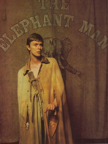"David Bowie as John Merrick, in the stage play ""The Elephant Man"".  I was obsessed with the life of Mr. Merrick when I was younger."