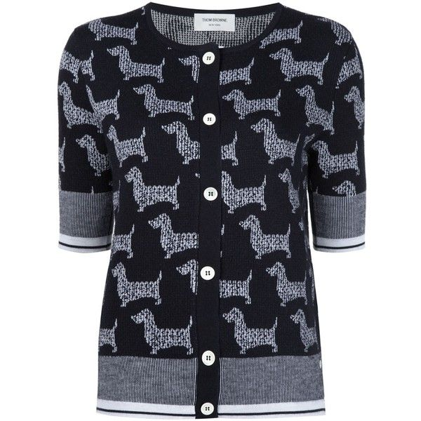Thom Browne dog intarsia cardigan ($606) ❤ liked on Polyvore featuring tops, cardigans, black, dog top, thom browne cardigan, cardigan top and thom browne