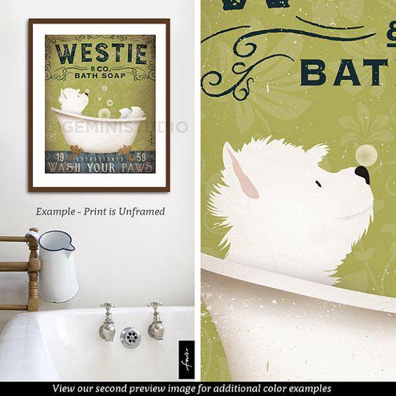 Westie West highland Terrier chien savon de bain par geministudio