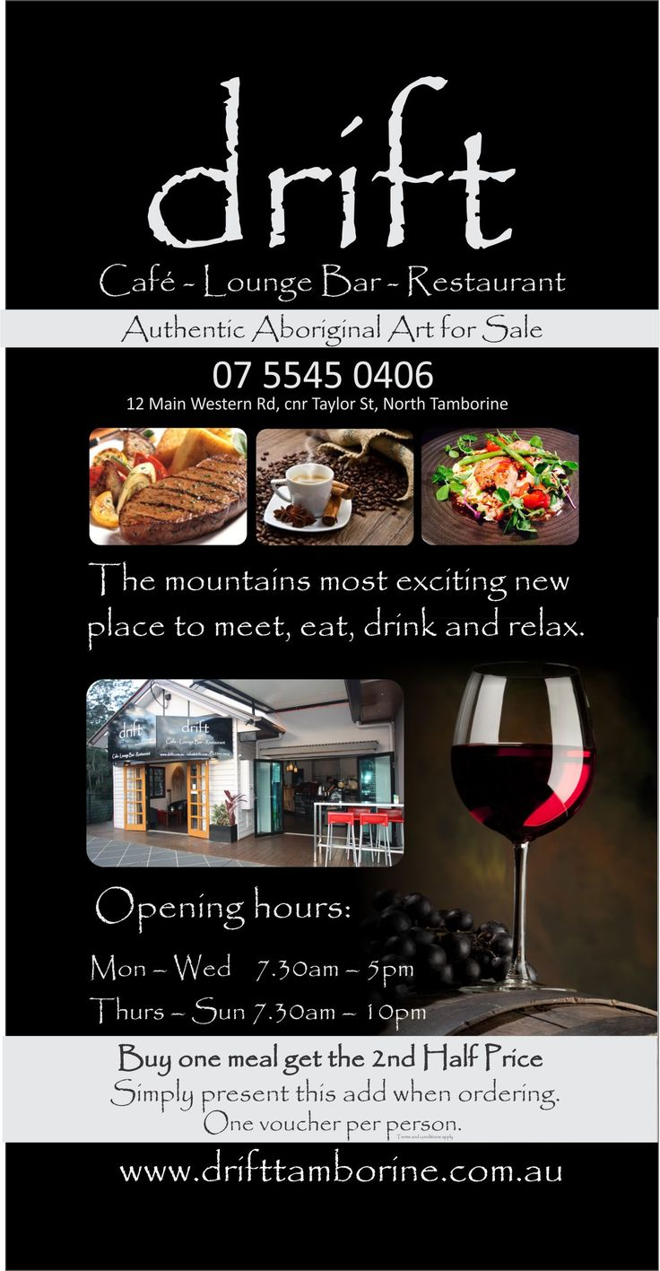 Tamborine Mountains most new and exciting Lounge Bar and Dining Venue conveniently on Main Street in the heart of the mountain. Book your table now http://ticketsandtours.com.au/travel/drift/