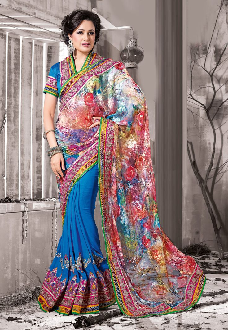 Multicolor Brasso Faux Georgette and Faux Georgette Saree with Blouse Online Shopping: SGA3908