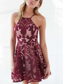 Burgundy Dress Geometric Print Organza Dress: