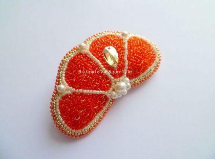 Купить Брошь 003 - оранжевый, яркая брошь, летняя брошь, брошь апельсин, брошь из бисера
