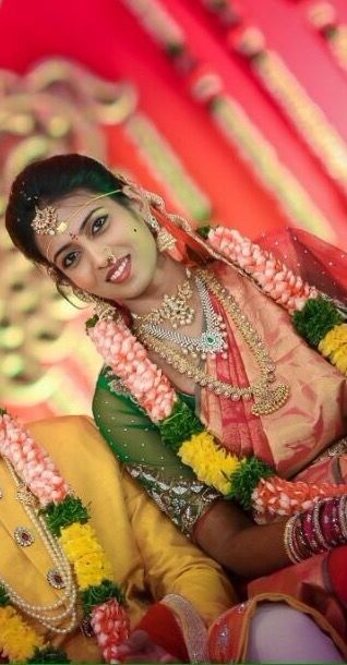 South Indian bride. Diamond Indian bridal and temple gold jewelry. Jhumkis.silk kanchipuram sari.Braid with fresh jasmine flowers. Tamil bride. Telugu bride. Kannada bride. Hindu bride. Malayalee bride.Kerala bride.South Indian wedding