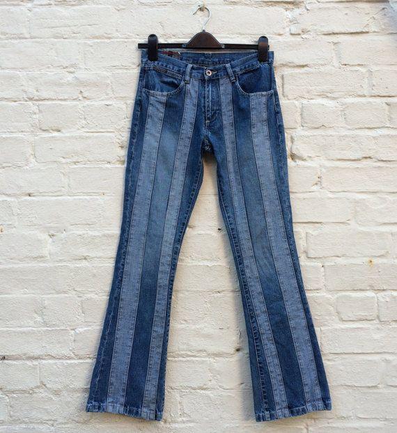 The Britney Jeans ... Y2K two tone denim stripe jeans!!