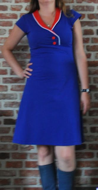 I think the collar and color choices make this a really cute dress.  This is Burda 7828.  The tutorial for changing the collar is in a different post.