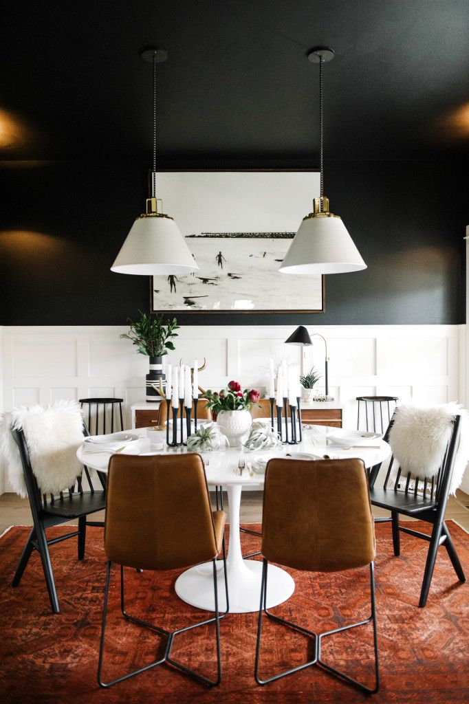Black dining room with white