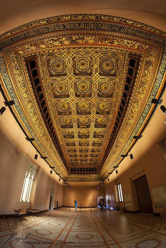 Techumbre mudejar en el Palacio de la #Aljaferia en #Zaragoza. #Patrimonio de la Humanidad