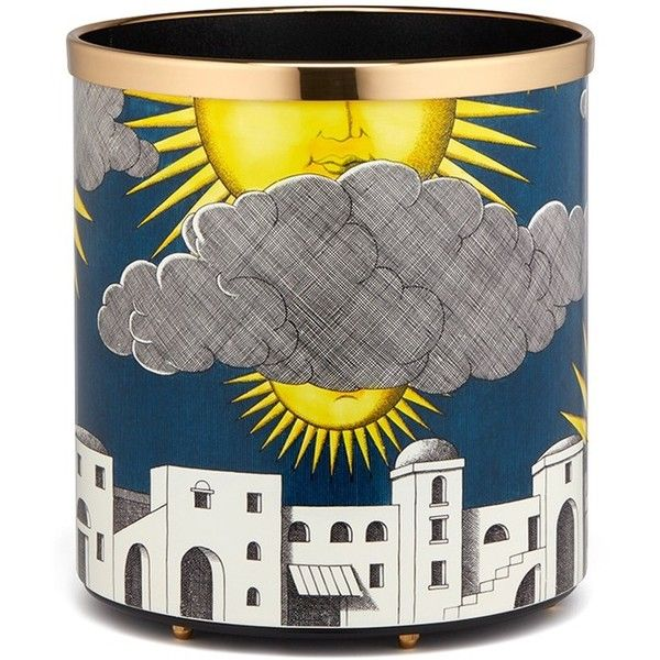 Fornasetti Sole di Capri paper basket (12,555 CNY) ❤ liked on Polyvore featuring home, home decor, small item storage, handmade baskets, colored baskets, paper basket, hand made baskets and fornasetti
