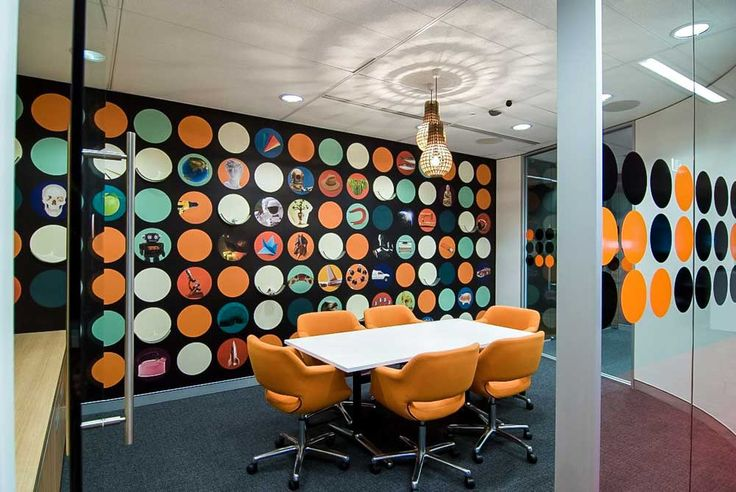 Interior Design Office with modern polkadot meeting room