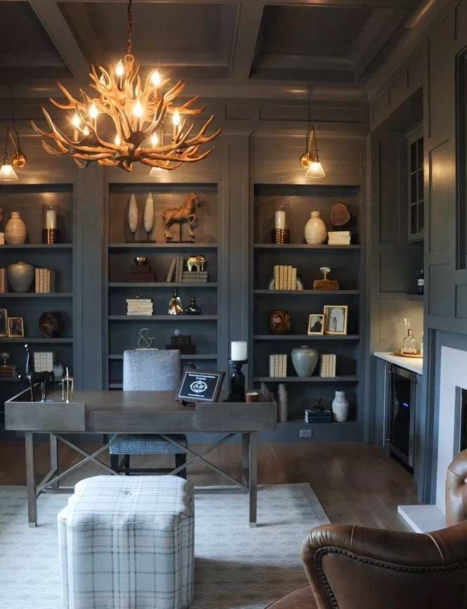 Dark Home Office Inspiration And Ideas Office Interior Design Home Office Design Home Office Decor