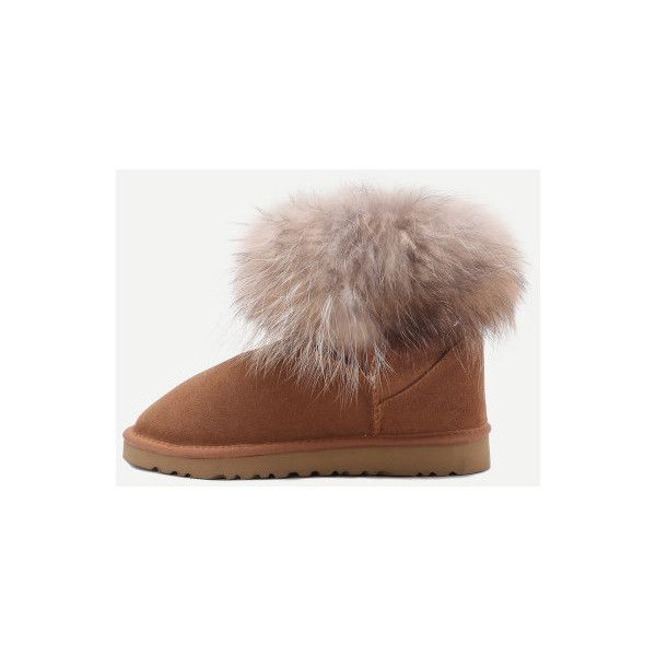 SheIn(sheinside) Brown Genuine Leather Fur Cuff Snow Boots (42 CAD) ❤ liked on Polyvore featuring shoes, boots, brown, flat leather boots, brown leather boots, brown flat boots, short brown boots and leather snow boots