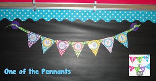 word wall tags- colored chevron and dot flags on ribbon