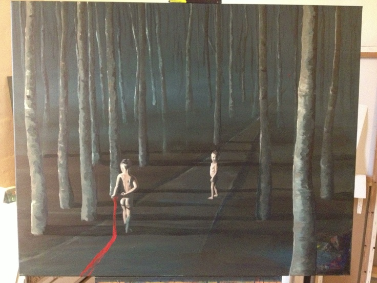"""Now my painting is finish. I think I will call it """"Boys on the road""""."""