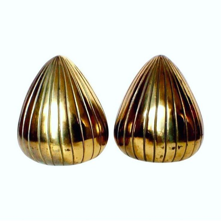 """PRICE DROP More Ben Seibel Brilliance! A pair of Brass """"Seed"""" Bookends. Classic modernist design. Perfect on your shelf! For $ale! 4""""H x 2""""D x 3""""W. FREE SHIPPING! Was $340.00. Now $300.00 until Nov 10th. Purchase is easy. Simply DM me your email address and shipping address. I send invoice. You Pay Invoice. I pack and ship!..."""