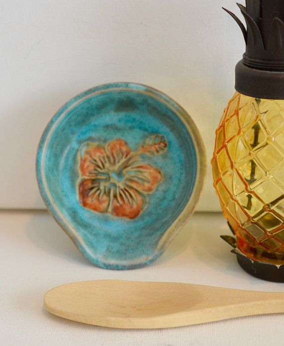 Hibiscus spoon rest  tropical spoon holder by OceanRakuPottery