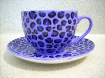 Funky Purple Leopard Print Tea Cup And Saucer Set