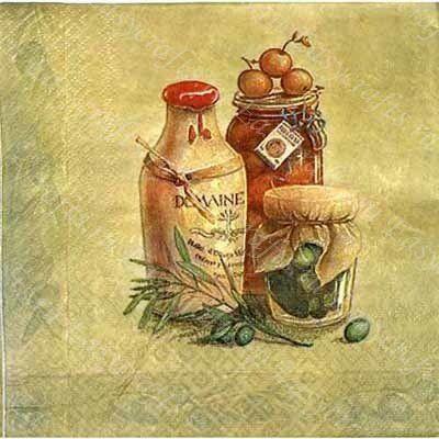 """Салфетка для декупажа """"Бутылки с маслом """" Бумажная салфетка для декупажа. Для декорирования предметов мебели, посуды, шкатулок, панелей телефонов и ноутбуков. Размер: 33 х 33 см"""