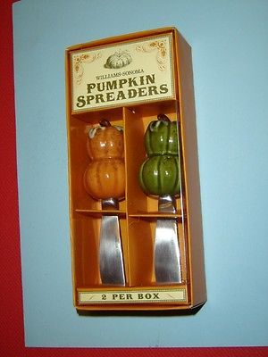 "#Williams-Sonoma #Pumpkin #decorative spreaders NIP  Decorative pumpkin spreaders by Williams-Sonoma  Each spreader measures approximately 4 3/4"" (12.1 cm) long  Set of 2 in the package   Can be used for spreading creamy cheeses, purees, or fresh butter and jam on slices of baguette or toast  They also make a lovely hostess gift for entertaining  Suggested retail price for this item is $24.00"