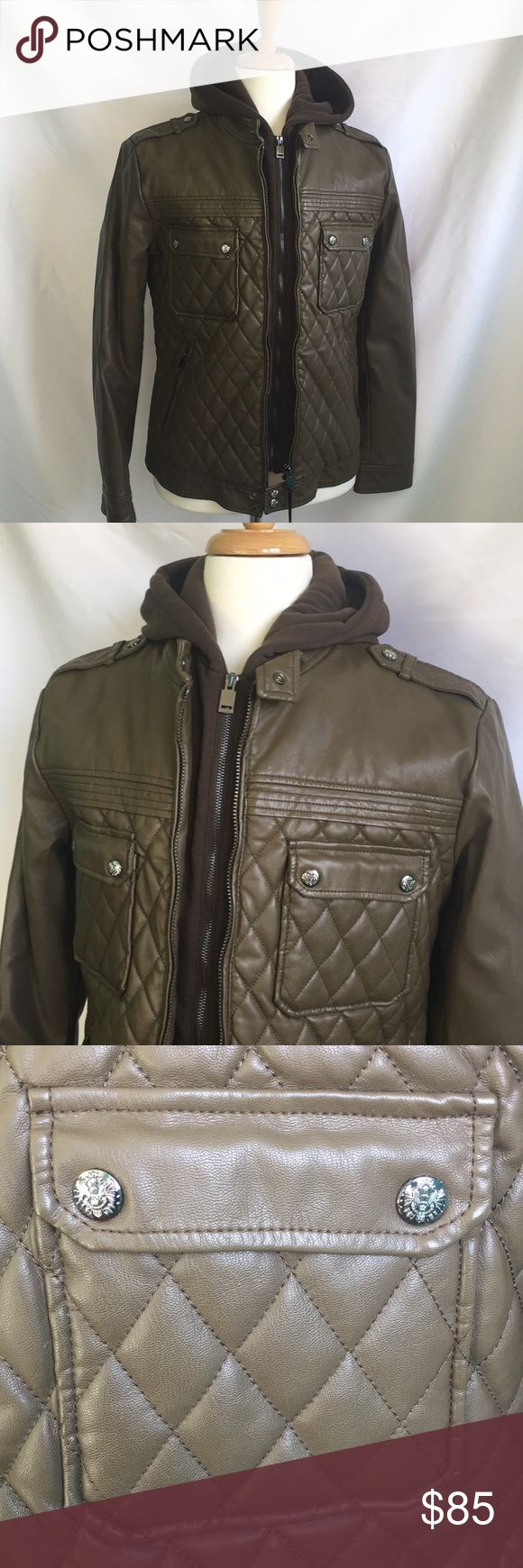 ZARA Brown Faux Leather Jacket with Hood Brown Quilted