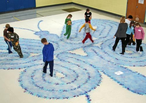 Butterfly painted labyrinth.