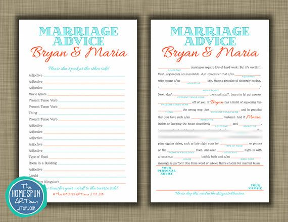 Wedding Guest Book Mad Libs Marriage Advice I Like How This One You