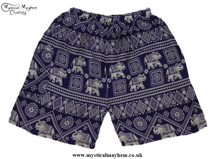 Dark Blue Thai Male Elephant Print Hippy Boho Rayon Long Shorts