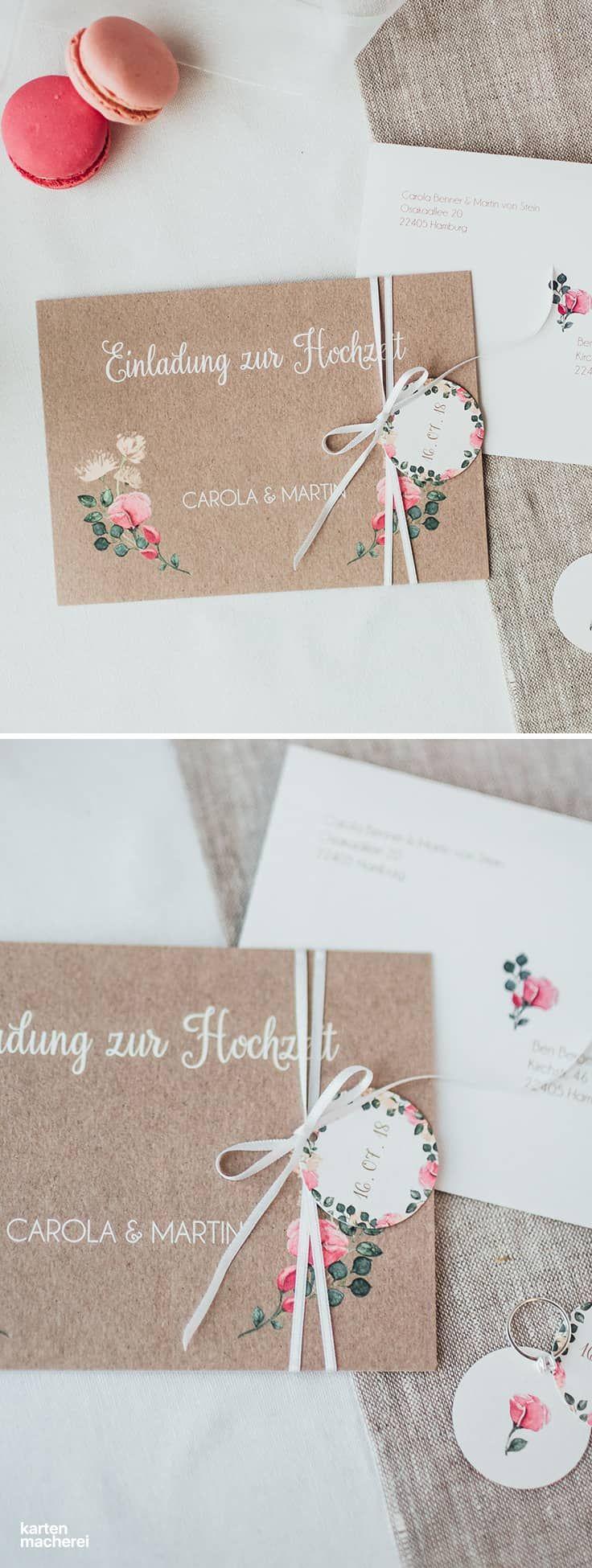 Hochzeitseinladung Vintage Rose Mit Anhänger, Der An Einem Seidenband  Befestigt Ist, Das Um Die
