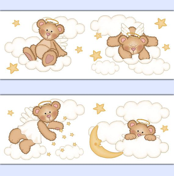 Angel Teddy Bear Wallpaper Border wall art decals for girl boy gender neutral woodland forest animal nursery decor. Sweet angelic bears decorated with clouds, stars, and a moon #decampstudios