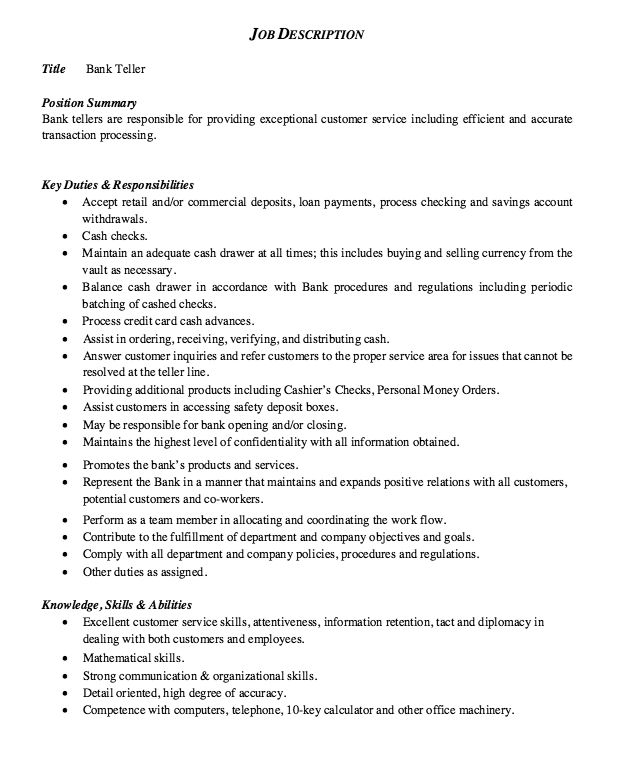 Bank Teller Cover Letter Samples For Resume: Job Description Bank Teller