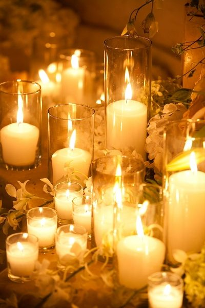 Candle grouping - glass cylinders flowers and candles