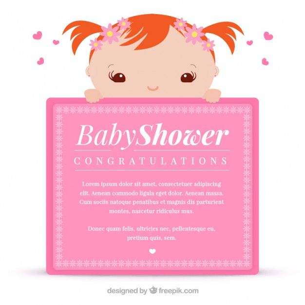 48 best freepik invites and announcements images on pinterest pink greeting card for baby shower stopboris Images