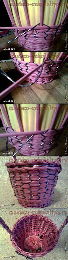 Мастера рукоделия - рукоделие для дома. Бесплатные мастер-классы, фото и видео уроки - Мастер-класс по плетению из газет: Необычное плетение со шнуром