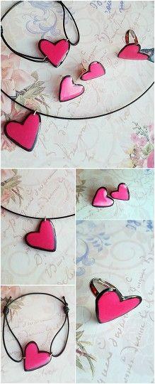 Sweetest Love Set #pink #heart #earrings #ring #necklace #bracelet #rayolabijoux on #etsy