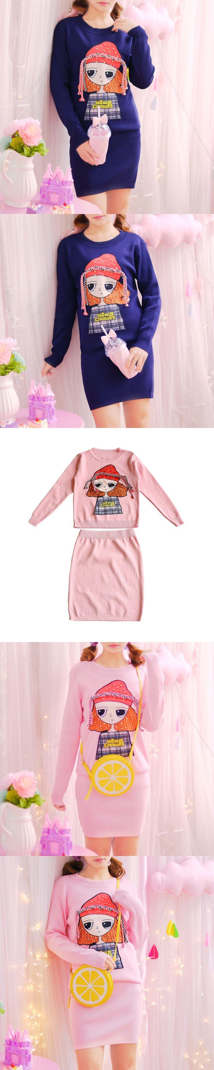 Princess sweet lolita suit Autumn and winter temperament Korean cartoon girl long sleeved sweater stretch wind skirt suit KMY252