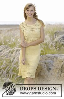 "Mimosa - Crochet DROPS dress with lace pattern and fan pattern, worked top down in ""BabyAlpaca Silk"". Size: S - XXXL. - Free pattern by DROPS Design"