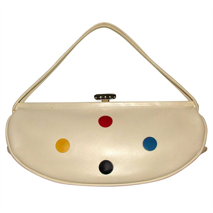 Leather Baguette with Primary Color Dots | From a collection of rare vintage handbags and purses at http://www.1stdibs.com/fashion/accessories/handbags-purses/