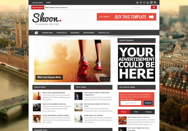 >Shoon is a Responsive and High User Friendly Blogger Template For Magazine Style Premium Blogger Blogs. Download Now at Bthemez.com