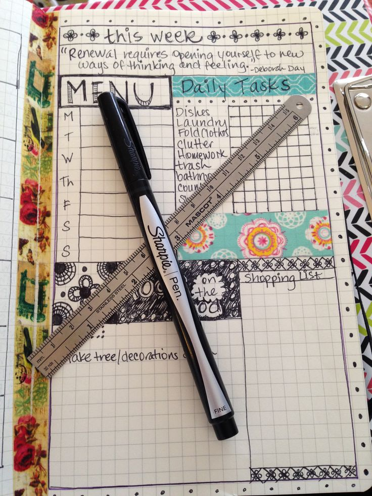 """My BuJo must haves- Sharpie """"No Bleed"""" pens and a metal ruler. Plus lots and lots of Washi tape."""