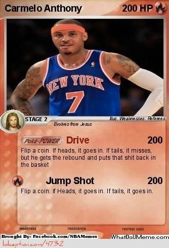 A Carmelo Anthony Pokemon Card! - http://nbafunnymeme.com/a-carmelo-anthony-pokemon-card/