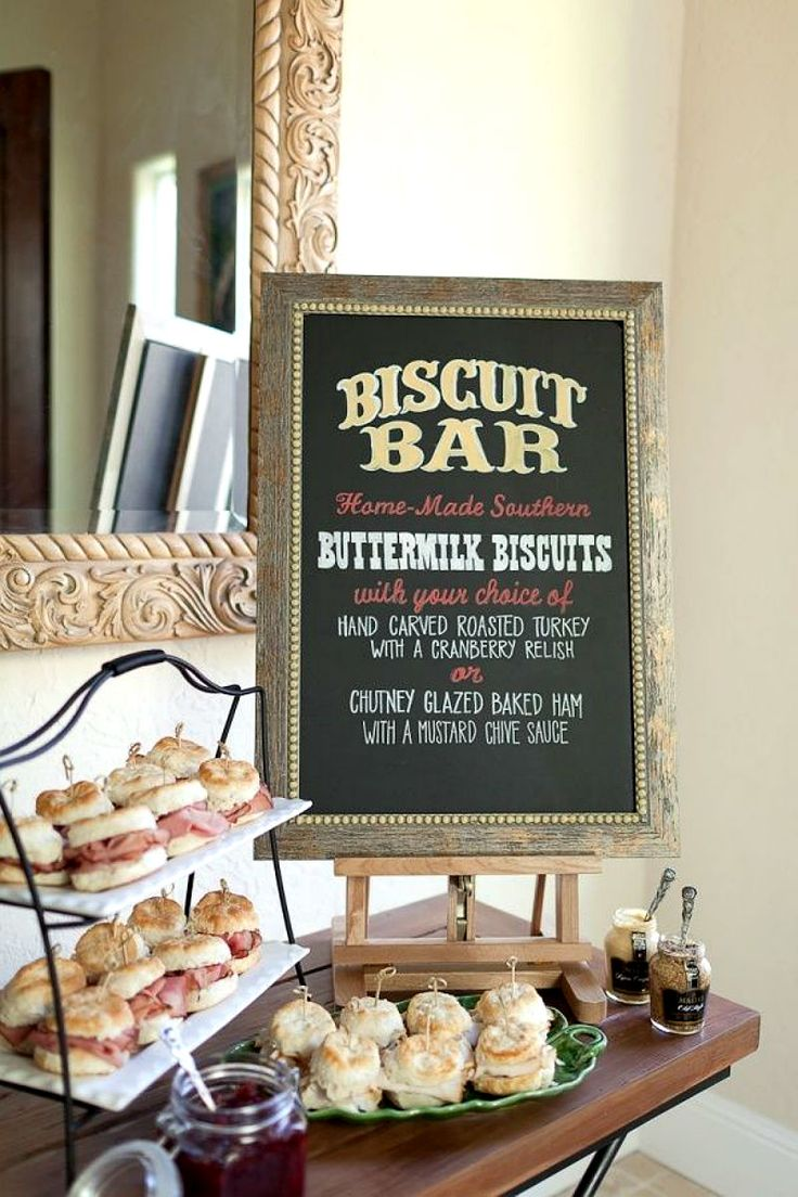 Your guests will love this biscuit bar filled with turkey, ham, and toppings.